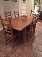 IKEA extensible dining set with 7 chairs