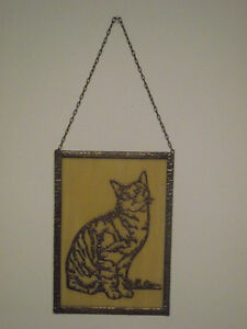 Handcrafted Copper Cat on Glass Wall Hanging