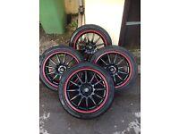 """17"""" gloss black multi spoke alloy wheels 114.3 pcd"""