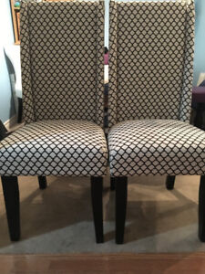 TWO upholstered wingback dining chairs - BRAND NEW