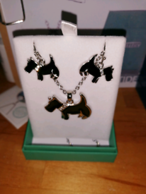black epoxy painter scottie dog earrings and necklace