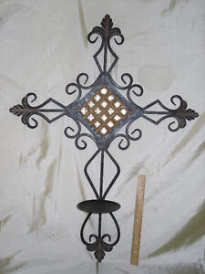 Wrought Iron Cross with candle holder