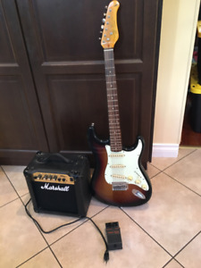 Strat replica, amp and pedal