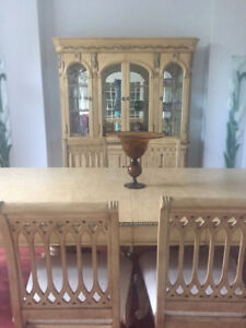 Antique white dining set cream color damask upholstery