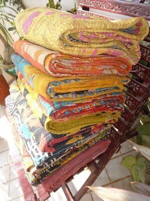 Set of 5 Handmade Vintage Kantha Quilt, Handmade Reversible Antique Gudri Throw