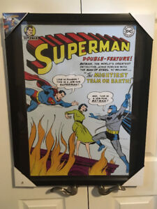 New Framed Large Superman & Batman DC comics crossover picture