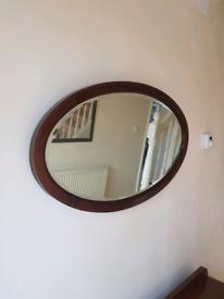 1930s oak oval mirror