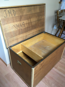 "Wooden storage chest (21"" by 37"" and 20"" deep)"