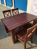 Solid Wood Wooden Dining Kitchen Table with 4 Chair