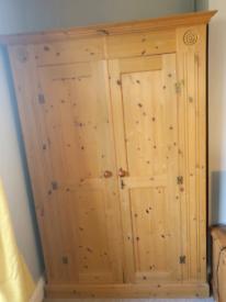 Solid pine wardrobe with key lock
