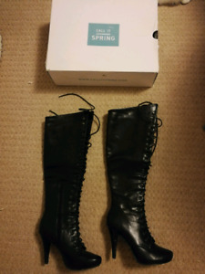 Size 6.5 black knee high synthetic leather heels