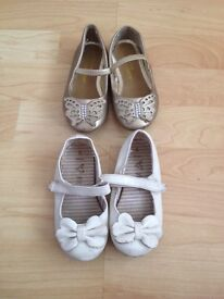 2 pairs of girls party shoes. Infant size 6