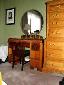 Antique Dressing Table with Mirror includes Chair