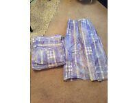 Purple curtains, double duvet cover & single duvet cover