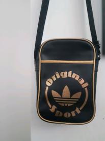 Mens Authentic addidas black& Gold side bag