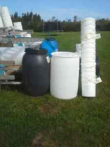 plastic barrels and buckets