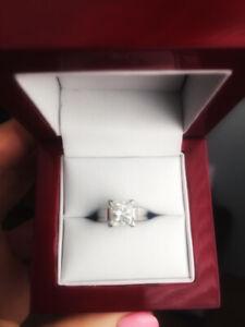Engagement Ring Set!     2.01 CT,   18 Karat While Gold bands!