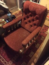 Beautiful Victorian armchair buttoned back mahogany porcelain castors
