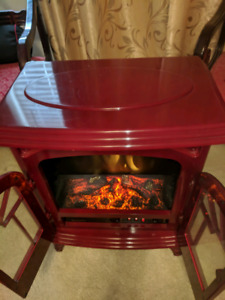 Red wood burning electric heater