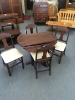Birch drop leaf table with 4 chairs