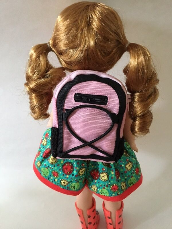 "Lovvbugg Pink Black Backpack with School Supplies for 14"" Wellie Wisher Doll"