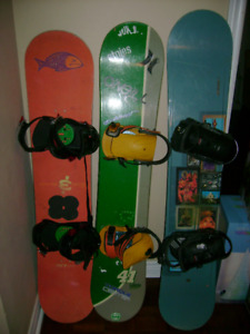 Snowboard with bindings for salemen and women