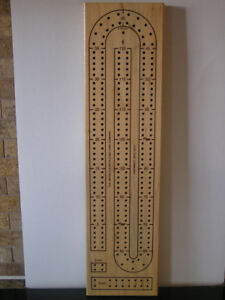 Cribbage Board Solid Wood 2 Track 4 Players Like New