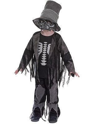 Boys Skeleton Grave Digger Halloween Day Of The Dead Fancy Dress Costume 3-10 (Grave Digger Kostüm)