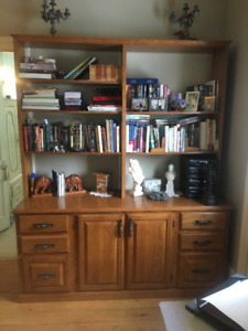 Credenza with book shelving, Custom, solid oak