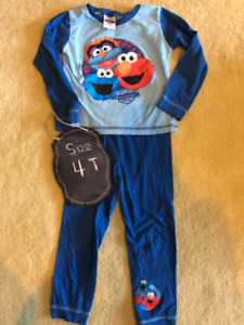 Boys Sesame Street blue PJ set -4/5 T