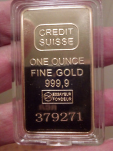 50mm Credit Suisse Laser Numbered Gold Plated Ingot Bar