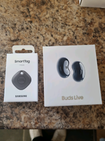 Brand New, Sealed Samsung Galaxy Buds Live (Mystic Black) & Smart Tag