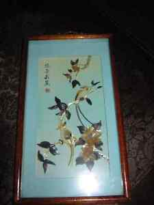 Shell Art Oriental Paradise Bird Picture Shadow Box Vintage
