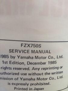 1985 Yamaha FZX750S Service Manual Regina Regina Area image 2