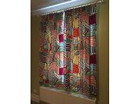 Cotton Ikea Fabric Made Curtains Lined L 200 X W 145 Cm Multi Colour Motif Vgc