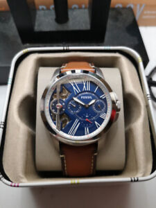 Fossil Grant Twist Leather and Stainless Steel Strap Watch