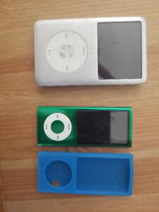 80GB Silver iPod Classic AND 8GB Green iPod Nano with case