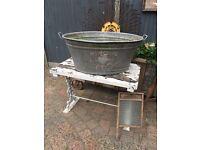 Huge vintage galvanised tin bath wedding prop garden planter pond ice bucket