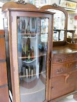 Antique Solid Quarter Oak Bow Front Side by Side China Cabinet