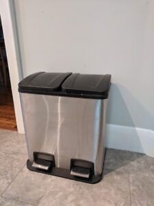 Stainless Steel Double Step Garbage Can and Recycling Bin (40L)