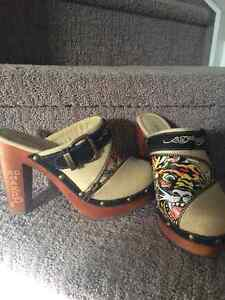 ED HARDEY WOODEN CLOGS