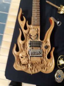 Unique hand-carved electric guitar