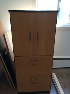 Large U-shaped desk & cabinet