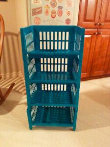 Four Stackable Plastic Storage Bins