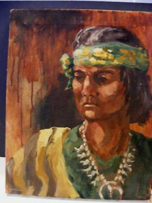 Oil PAINTING Canvas NAVAJO INDIAN Native Art Clothes Squash Blossom Necklace 20""