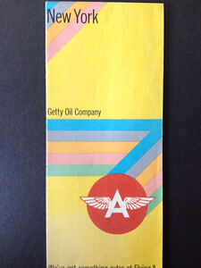 """Getty Oil Co. Flying """"A"""" 1969 New York State. N.Y.C. Road Map West Island Greater Montréal image 1"""