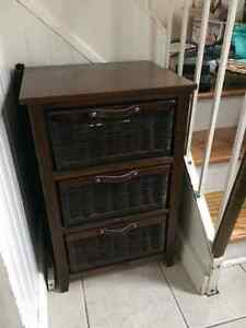 Wood and Wicker 3-Drawer Unit