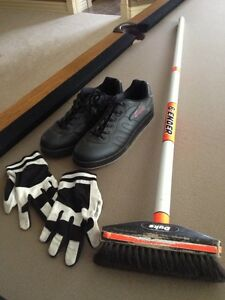 Curling Shoes, Gloves and Brooms