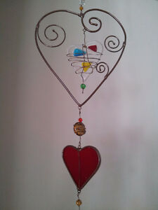 "40""H Unique Handmade Heart Glass Mobile - Like New"