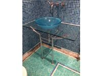 Sharps glass bathroom sink and glass base and stand